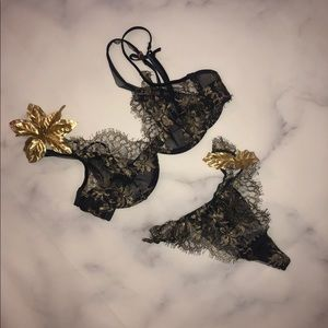 Victoria's Secret Navy Blue and Gold Bra and Panty